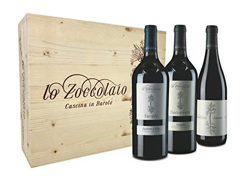 Lo Zoccolaio Cassetta Legno - Vino Rosso - Barbera D'Alba+Langhe Rosso+Barolo 3 Bottiglie x 750ml