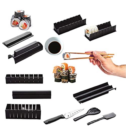 MUV kit sushi fai da te con Coltello - Set Sushi Completo di 11 Pezzi per Cerchio, Cuore, Triangolo, Quadrato