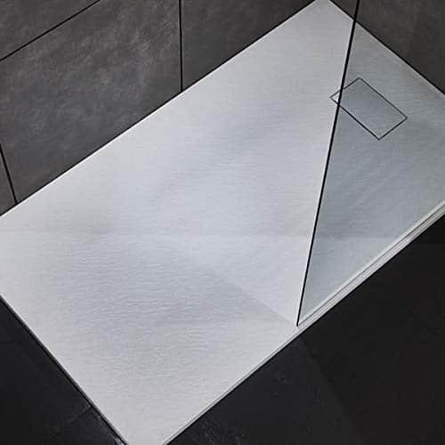 Piatto doccia effetto pietra in resina struttura a nido d'ape riducibile con piletta di scarico (120x80, Bianco)