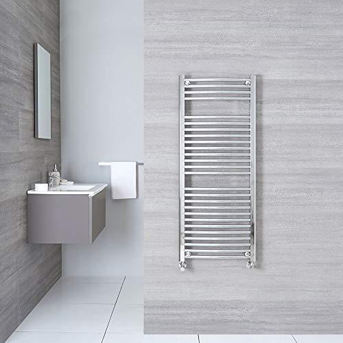 Hudson Reed Sterling Scaldasalviette Moderno di Design Verticale - Termoarredo Bagno Curvo - Design Contemporaneo a Scaletta - Acciaio Cromato - 465W - 1200 x 500mm