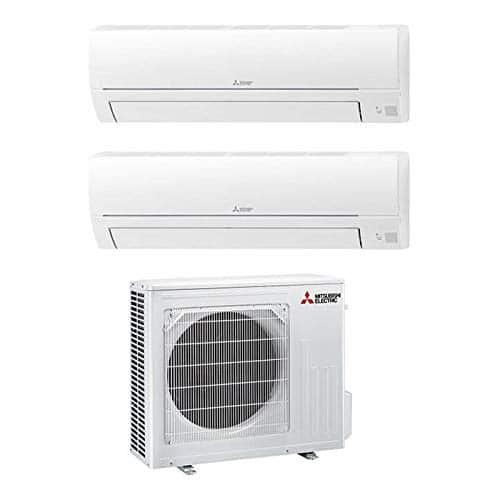 Mitsubishi Electric MXZ-2HA40VF Linea Smart, Set climatizzatore Dual Split a Parete MXZ-2HA40FV Composto da 2 unità Interne 9.000 + 12.000 BTU, 230 V, Bianco