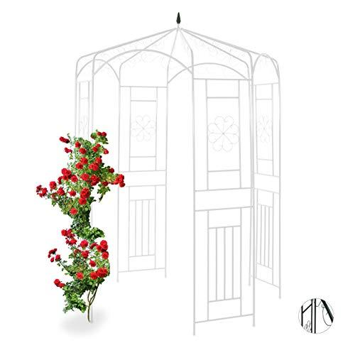 Relaxdays Bianco Padiglione da Giardino in Metallo per Rose, Sostegno per Piante Rampicanti, HLP 250x160x160 cm, Colore