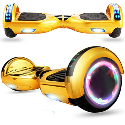"""Magic Way Hoverboard Fuoristrada - 6.5""""- Bluetooth - Motore 700 W - velocità 15 KM/H - LED - Overboard Elettrico autobilanciati - per Bambini e Adulti (oro cromato)"""