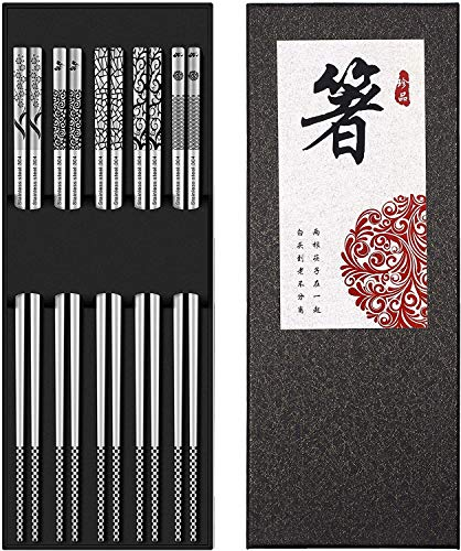 DYBOHF 5 Paia Bacchette Acciaio Inossidabile, Alta Giapponese qualità Lusso, Bacchette sushiriutilizzabile Ecologico e Sicuro Set Regalo