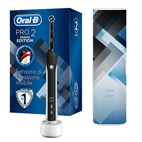Oral-B Pro 2 Spazzolino Elettrico 2 Modalità di Spazzolamento, 1 Testina, Batteria Litio, Custodia da Viaggio, Idea Regalo, Design Special Edition, Nero