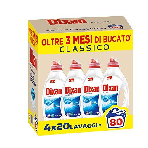 Dixan Classico, Detersivo Lavatrice Liquido, Tecnologia Pulito Profondo, profumazione classica, confezione da 80 Lavaggi