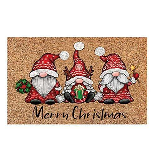 Zerbino Natale Decorativo, 40x60x0.7CM Tappeto Natalizio, Zerbino Natalizio Ingressocon Motivo Natalizio, Tappeto Assorbente Antiscivolo per Interni ed Esterni (A)