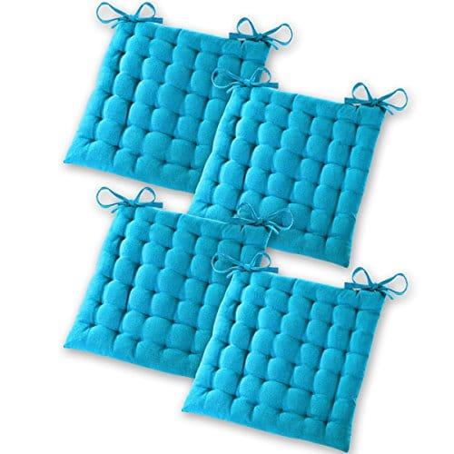 Gräfenstayn® Set di 4 Cuscini per Sedia 40x40x5cm da Interni ed Esterno in 100% Cotone - Colori Diversi - Imbottitura Spessa Cuscino Trapuntato/Cuscino da Pavimento (Turchese)