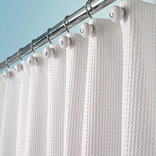 mDesign lussuosa tenda doccia in tessuto misto cotone – misure: 180 x 180 cm – colore: bianco – tende doccia tessuto idrorepellente – tende da bagno