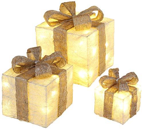 Bambelaa! Led Decorazione Light Gift Boxes - Set di 3 incl. Funzione Timer - Decorazione natalizia Decorazione natalizia Decorazione di Natale Illuminazione (Oro)