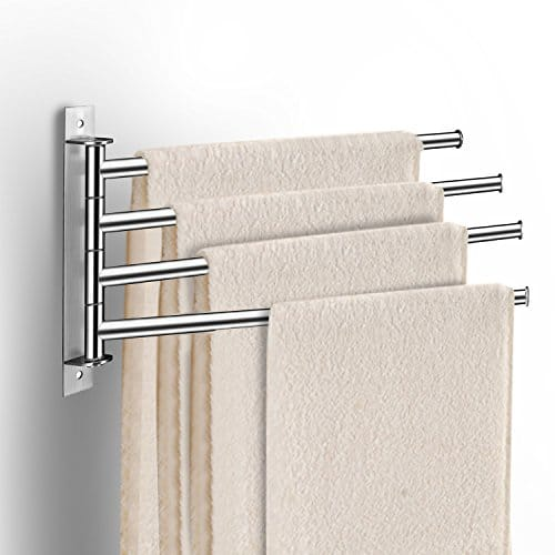 LDUDU - Portasciugamani in acciaio inox con 4 braccia, rotazione di 180°, semplice ed elegante