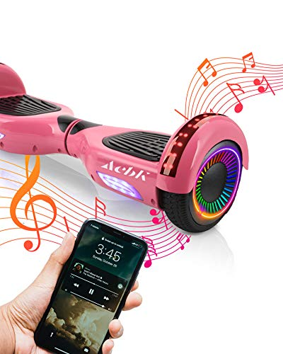 """ACBK D01 Bluetooth Route LED Rosa, Scooter Elettrico Hoverboard Autobilanciato Unisex-Youth, 6.5"""""""
