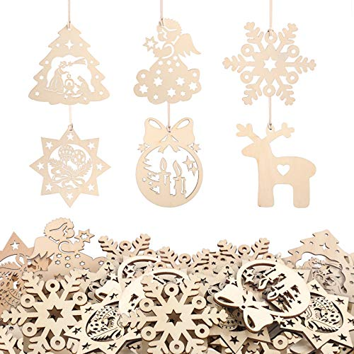 KATELUO 60 Pezzi Natale Ciondolo in Legno, Decorazioni Albero di Natale in Legno, Ornamenti Natalizi in Legno da Appendere per la Casa, Feste, Festival, Decorazioni Natalizie Fai Da Te.