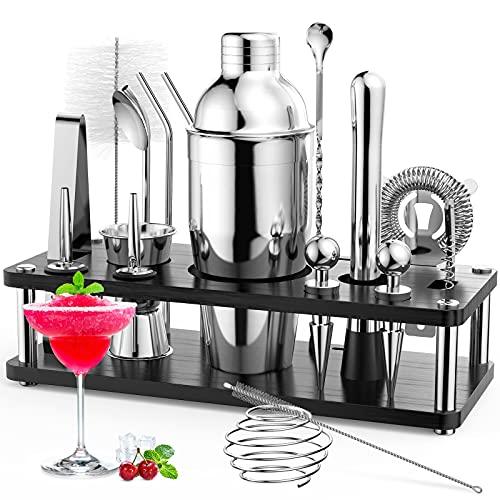RATEL Cocktail Shaker Set, 18 Pezzi Set Professionale per Cocktail Shakers Bar per Feste Accessori Essenziali per Barman Kit in con Espositore in Legno E Libro per Cocktai