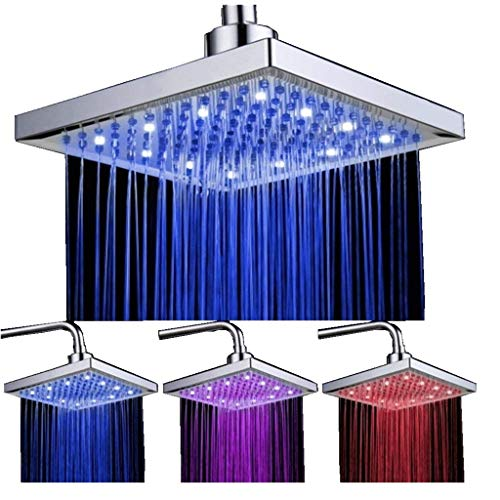 DAXGD Soffione Doccia LED, 8 pollici Doccia Soffione Quadrato controllo della temperatura, soffione per doccia quadrato ABS cromato finito con 12pcs LED, 3 colore cambiando flusso d'acqua alimentato