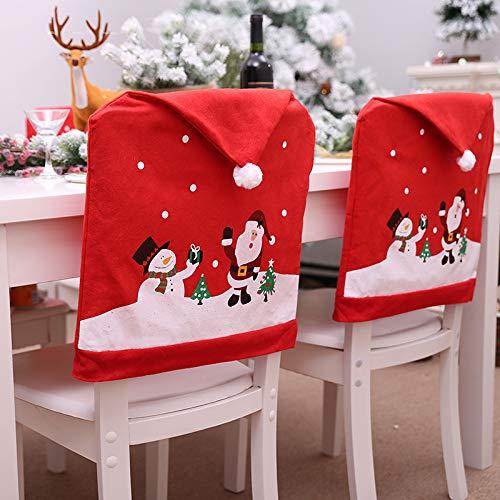 Cozyhoma, Set di 6 coprisedie natalizi, a forma di cappello rosso di Babbo Natale, copertura per lo schienale delle sedie, decorazione per cene e feste