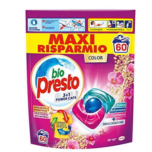 Bio Presto Bio Presto Power Caps Color, Detersivo Lavatrice Predosato In Capsule Per Capi Colorati, Confezione Da 60 Lavaggi - 780 g