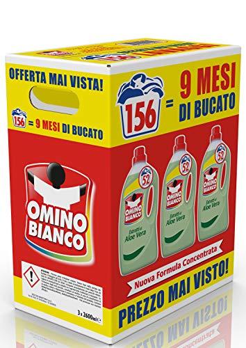 Omino Bianco - Detersivo Lavatrice Liquido, 156 Lavaggi, Rispetta Colori e Tessuti, Fresco Profumo con Essenza di Aloe Vera, Formato Convenienza, 2600 ml x 3 Confezioni
