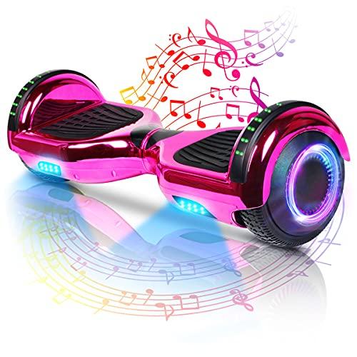Hoverboard-Hoverboard Per Bambini, Hoverboard Autobilanciato A Due Ruote Da 6,5 Pollici, Con Bluetooth E Luci Lampeggianti A LED, Adatto A Bambini Di Età Compresa Tra 6 E 12 Anni (Pink)