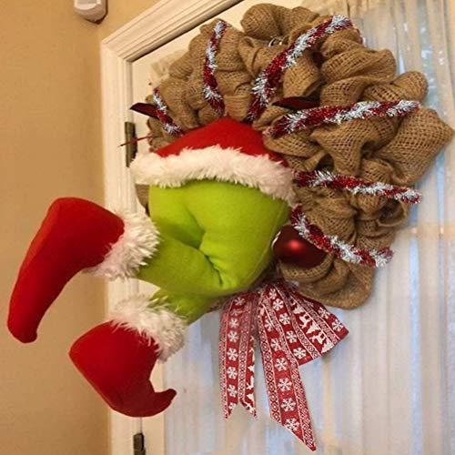 Zhongdawei Ghirlanda di Natale, decorazione natalizia per ladro di Natale, ghirlanda di iuta, ghirlande natalizie, decorazioni natalizie, ghirlande di iuta, decorazioni natalizie, ghirlande di Natale