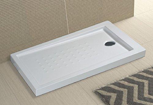 Piatto doccia in acrilico bianco ultraflat h.5cm completo di piletta scarico MILO (80x120 cm)