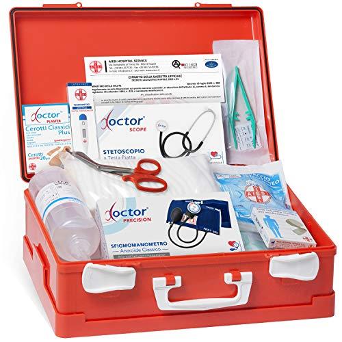 AIESI® Cassetta medica di pronto soccorso ALLEGATO 1 CON SFIGMOMANOMETRO per aziende più 3 dipendenti # Conforme DM388/DL81# Made in Italy