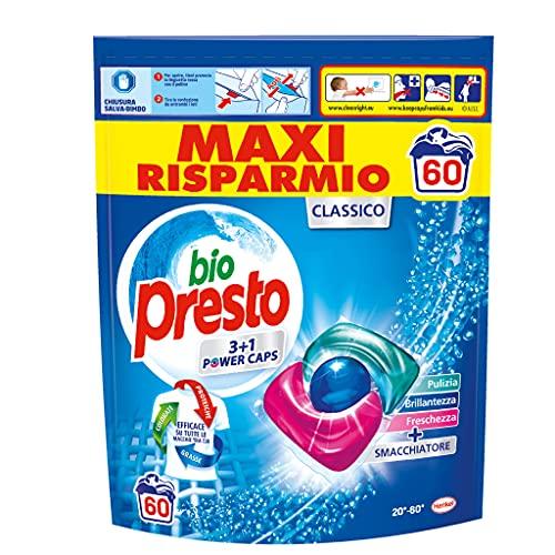 Bio Presto Bio Presto Power Caps Classico, Detersivo Lavatrice Predosato In Capsule, Confezione Da 60 Lavaggi - 780 g