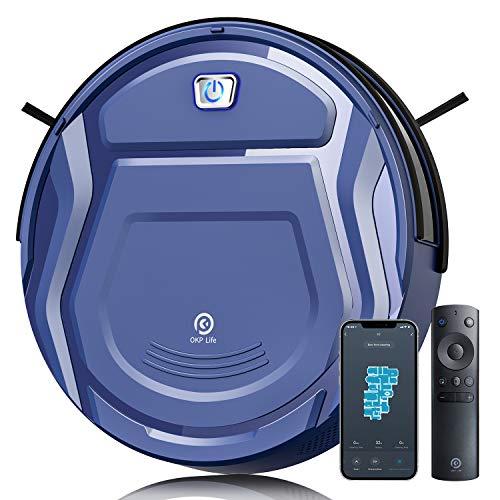 Robot Aspirapolvere,Aspirazione 2100Pa Super Sottile Aspirapolvere Robot Domestiche Silenzioso Controllo con WiFi/App/Alexa, Ideale per Peli di Animali Tappeti Pavimento Duro,120 Minuti Autocaricante
