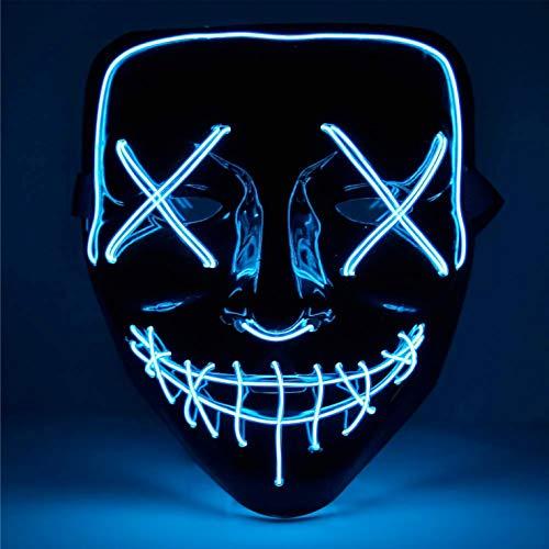 TK Gruppe Timo Klingler Maschera horror a LED blu - come da Purge con effetti di luce 3X, controllabili, per Halloween, Mardi Gras e Carnevale come costume per uomini e donne