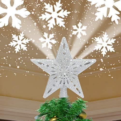 YOCUBY decorazioni albero di natale,Puntale per albero di Natale con stella illuminata con sfera magica rotante integrata,decorazione natalizia,proiettore a LED per albero di Natale,Natale