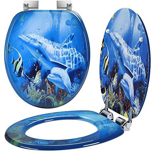Bakaji Copriwater Universale con Stampa Serigrafata Copri Tavoletta WC per Bagno in Legno MDF con Cerniere Rettangolari in Lega di Zinco Design Moderno Dimensione 43,5 x 37,5 x 5 cm (Delfini Oceano)