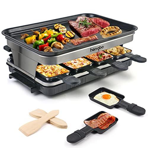 Raclette 8 Persone Piastra Raclette Grill in Alluminio, 8 Pentolini da Raclette, Calore Regolabile Continuo Termostato, 1500 Watt