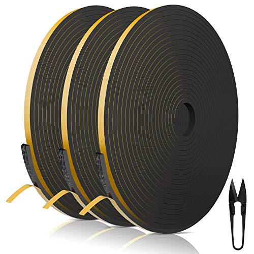 RATEL Striscia di Gomma 6 mm (W) * 3mm (H) * 18 m (L) con Forbici * 1, Finestrini Prova di collisione e Isolamento Acustico Strisce Adesive per Fessure e Fessure (Nero)