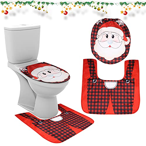 TSLBW Natalizio Set Toilette Decorazioni Natalizie Copriwater Babbo Natale Decorazioni Bagno Babbo Natale Tappetino da Bagno Toilette Natale Tappeto da Pavimento Cuscino WC Decorazione Natalizia