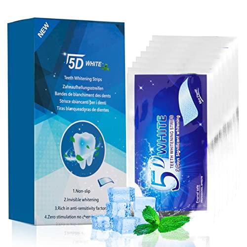 5D Strisce Sbiancanti Denti, Instant Teeth Whitening Strips, 60 Kit Gel Sbiancante Denti Professionale per Sbiancamento, Non Sensibili, Non Acide, per Rimuovere le Macchie di Vino da Fumo di Caffè