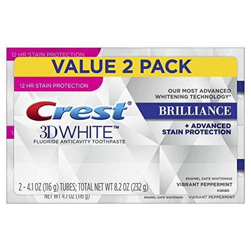 Crest 796913 3D Bianco Brilliance Vibrant Peppermint Dentifricio Dentifricio, confezione di 2