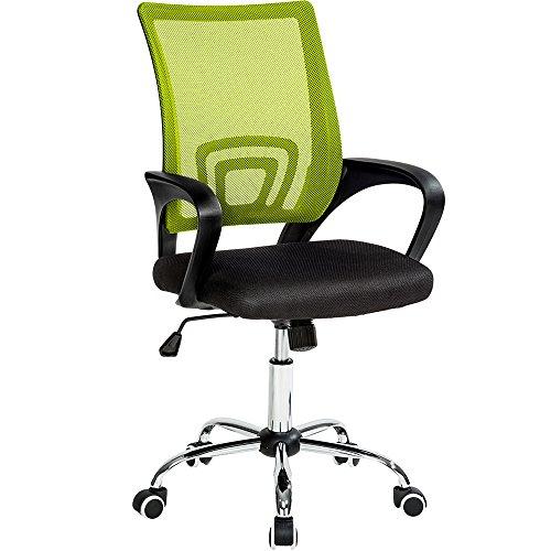 TecTake Sedia Ufficio con Supporto Lombare Sedia Girevole Stoffa Rete - Disponibile in Diversi Colori - (Nero Vert | No. 401790)