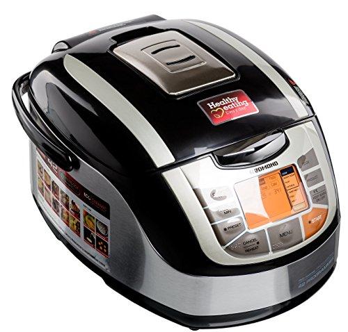 Redmond RMC-M4502E Multicooker/Pentola Cuociriso, 42 funzioni programmabili con Pannello LED, pentola in Acciaio inossidabile da 5l, Ecoceramic, Potenza 1000w, Nero