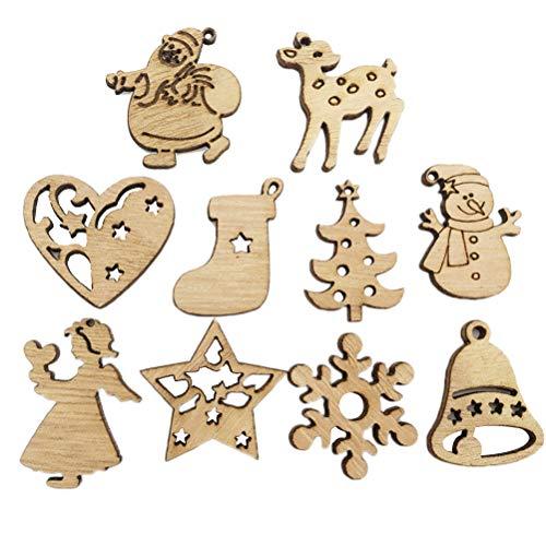 YeahiBaby Albero di Natale Ornamenti Legno abbellimenti Artigianato per Albero di Natale Decorazioni Natalizie - 200pz