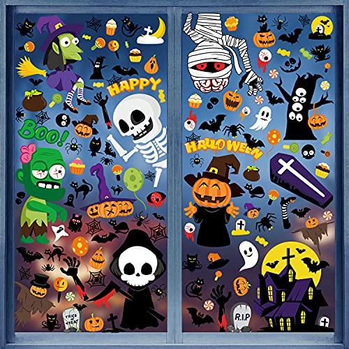 FullJoyHut Halloween Decorazioni Adesivi Vetrofanie Finestre di Halloween Sticker Decal Decorativi su PVC Decalcomanie Vampiro Fantasma Strega Kit Accessori Decori Halloween per Casa Negozi Festa